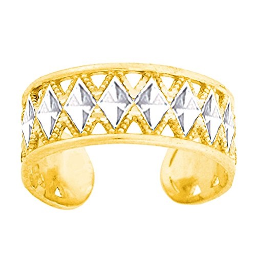 14K White And Yellow Gold Diamond Cut And Millgrain Design Adjustable Toe Ring - Tone Yellow Toe Ring Two