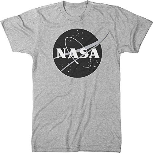 NASA Meatball Logo Black &White Men's Modern Fit Tri-Blend T-Shirt (Heather White, Large) ()