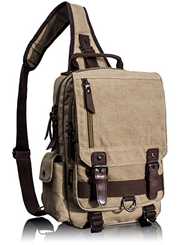 (Leaper Canvas Messenger Bag Sling Bag Cross Body Bag Shoulder Bag Khaki, M)