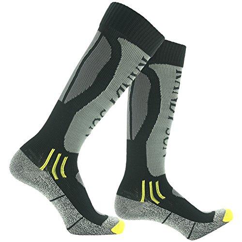 RANDY SUN 100% Waterproof Skiing Socks, Rain Socks, [SGS Certified] Men's Cold-Weather Comfort Socks Grey&Black Medium