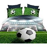 Special Green 3D Soccer Ball Print 4 Piece Microfiber Bedding Sets With 1 Duvet Cover 1 Flat Sheet 2 Pillow Cover,Queen