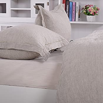 Charmant Simpleu0026Opulence 100% Linen Pure Solid Color Embroidery Border Queen King  Duvet Cover Set(Multi Colored Options) (Queen, Linen)