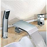Rozinsanitary NEW Deck Mounted Bathroom Tub Faucet Waterfall Bathtub Mixer Tap Single Handle