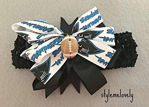 Carolina Panthers Baby Girl Boutique Bow Crocheted Headband- Fits newborn- adult]()