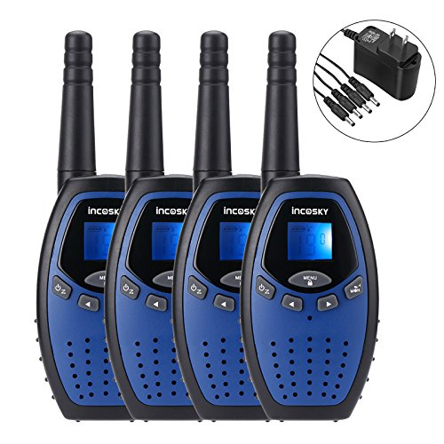 incoSKY Walkie Talkies for Kids 22 Channel 400M-480MHz with PPT/VOX 2 Way Radio 3 KM Long Range and Clear Sound (1 Pair) Dark blue, Power ()