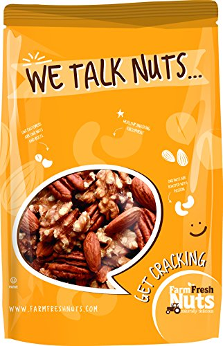 RAW MIXED NUTS (NO SHELL) Almonds, Walnuts & Pecan mix By Farm Fresh Nuts (1 LB) ()