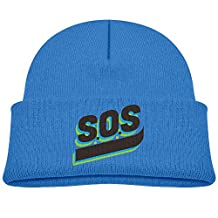 SEVENJIA SOS Personality Art Soft Knit Beanie Hat Warm Thick Winter Hat For Men SOS Personality Art Winter Warm Cap