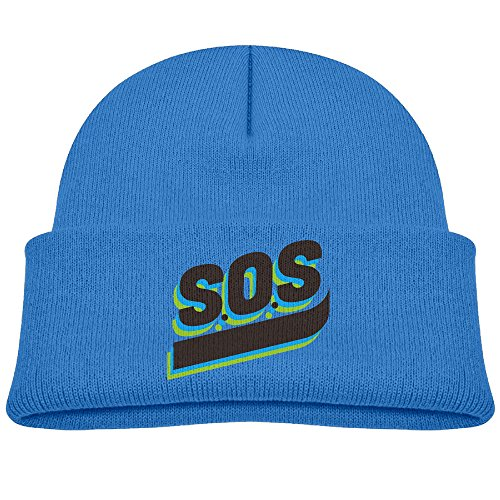 SEVENJIA SOS Personality Art Soft Knit Beanie Hat Warm Thick Winter Hat For Men SOS Personality Art Winter Warm Cap ()