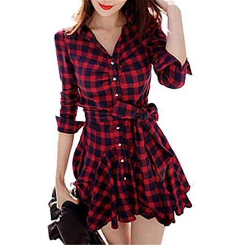 Buy belted plaid dress - 7