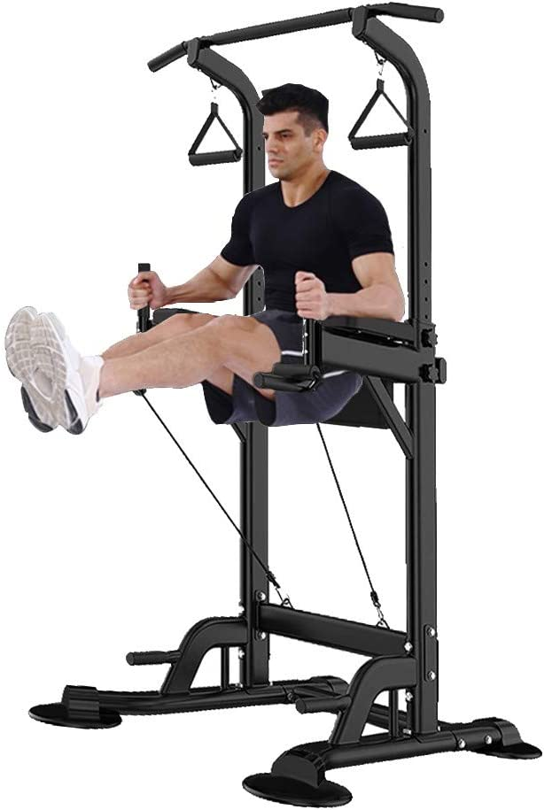 Dengken Power Tower Dip Station Adjustable Multi-Function Pull Up Bar Dip Stands Workout Equipment Chin Push Up Bar Home Gym Fitness Core Strength Training up to 330lbs