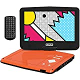 BOIFUN 12.5 inch Portable DVD Player with 10.5' Swivel Higher Brightness Screen, 5hrs Rechargeable Battery, Support SD Card & USB Directly Play, Resume Function, Region Free, Orange