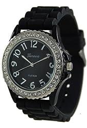 Geneva Platinum Women's 6886.Black Black Silicone Quartz Watch with Black Dial