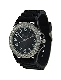 Geneva Platinum Women's 6886.Black Black Silicone Quartz Watch with Black Dial