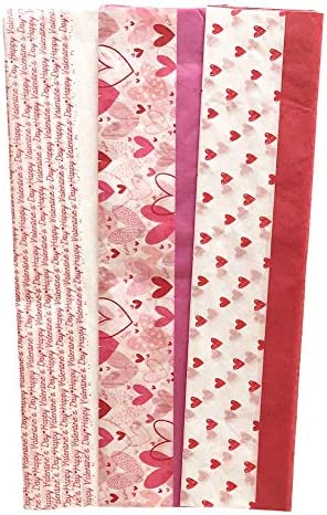 Valentines Tissue Paper Gift Wrap | 30 Sheets of 20 x 20 in Gift Wrap Tissue Paper | Wrapping for Romantic Gifts | Gift Wrapping for Bags, Boxes, and Odd Shaped Gifts (Valentines Day)