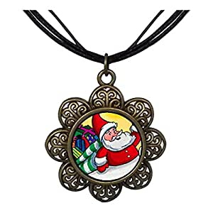 Chicforest Bronze Retro Style Santa And Gifts Sun Flower Pendant