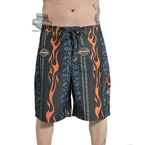6029e3eb53942 hot sale Harley-Davidson Mens Motor Beach Flames Cargo Board Shorts ...