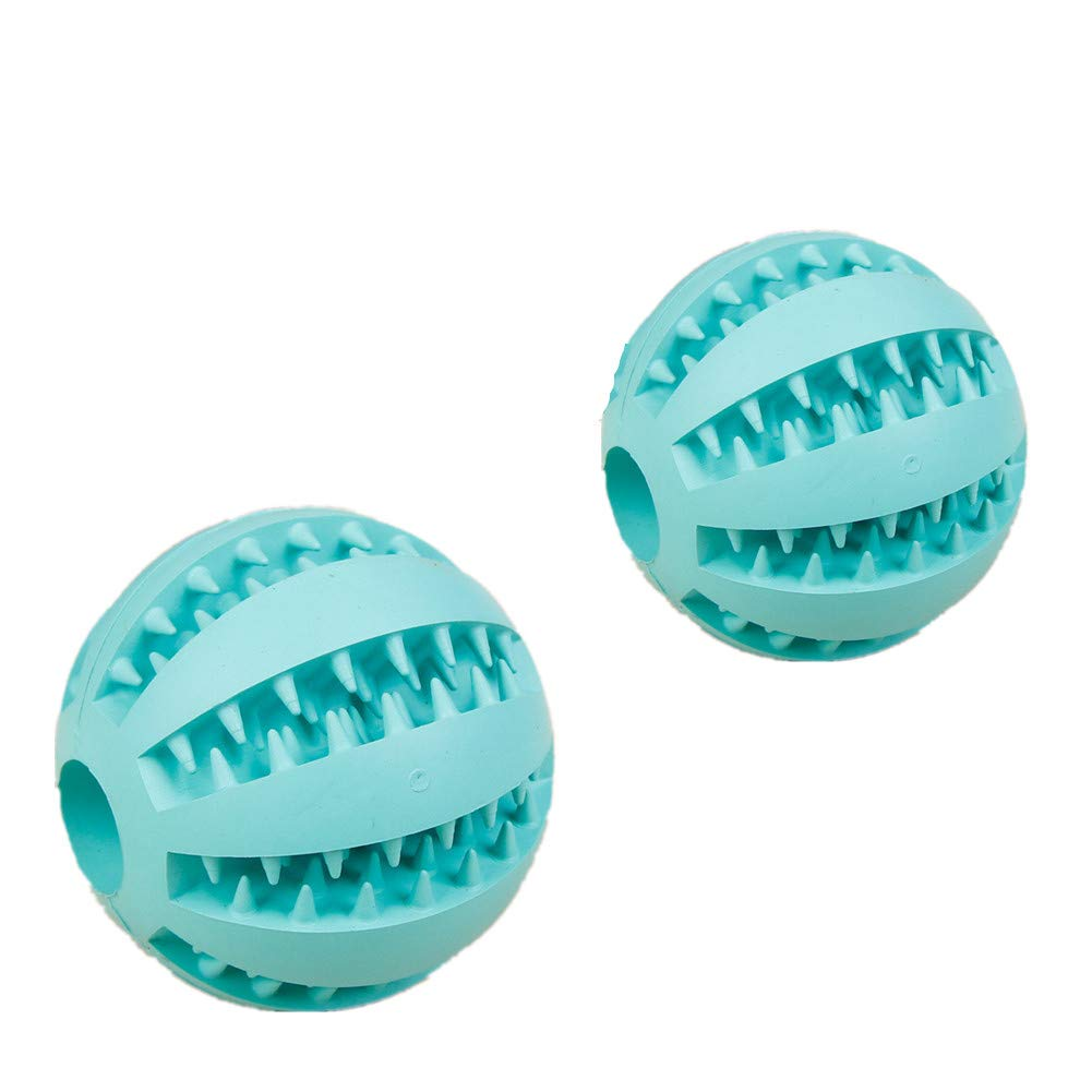 bluee JX Pet Teeth Cleaning Play Toy pet Decompression Bouncy Ball Rubber Ball(bluee 7cm+5cm)