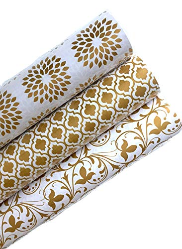 Luxi Gift Wrapping Paper Rolls - Gold Print for Christmas, Valentines, Birthday, Wedding, Baby Shower & Any Occasions - 3 Gift Wrap Rolls in Size 30