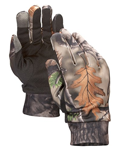North Mountain Gear Mens Lightweight Camouflage Gloves with Touch Screen Compatible Fingers - Archery Accessories Hunting Outdoors Fall Brown