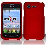 LG Optimus Fuel L34C Red Rubberized Plastic Cover Snap On Hard Rugged Gel Case Cell Phone Shield Protector Shell from [Accessory Library]