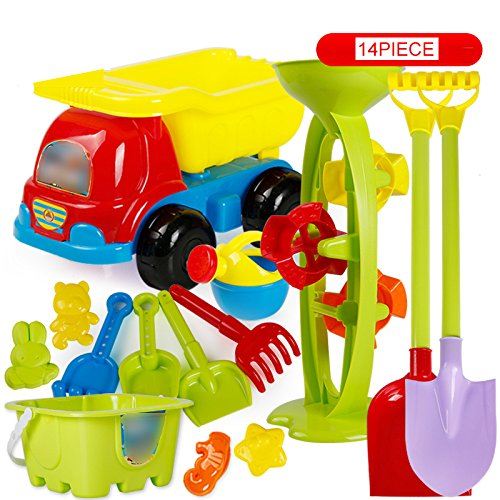 VGHJK Children's Beach Toys Set Bucket Hourglass Boy Baby Large Dredger Shovel Play Bath Toys(random Color),L by VGHJK