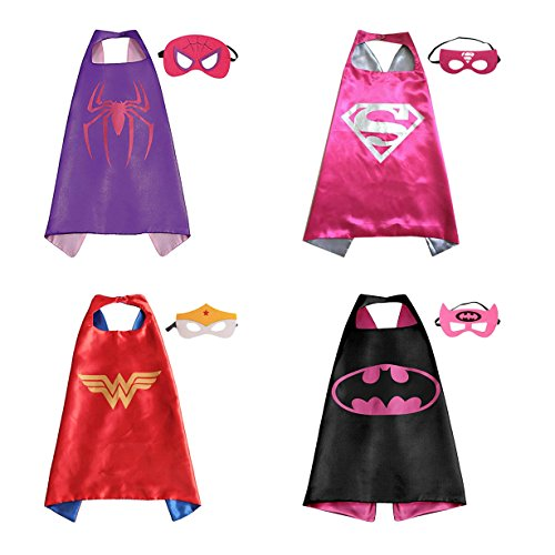 Superhero Dress Up Costumes For Girls - 4 Capes, 4 Masks - Superhero Party Supplies (Captain America Toddler Girl Costume)
