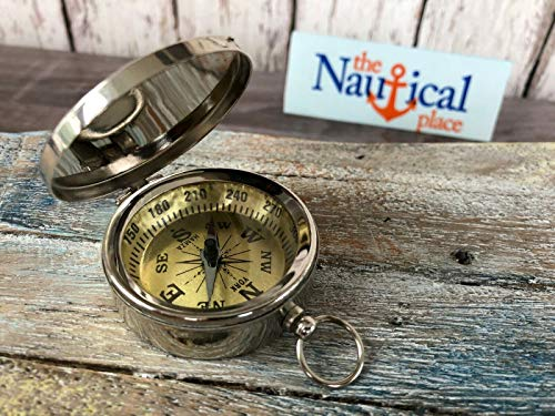 Chrome/Silver Finish Brass Compass with Lid -Old Vintage Nautical Pocket Style for Home Decor Collection