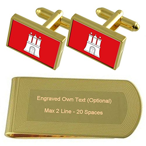 Flag Money Gift Set Engraved Clip Hamburg tone Cufflinks Civil Gold BqxwnAfv7