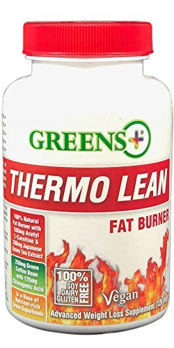 Thermo Lean Advanced Original Superfood Weight Loss Supplement | Herbal Fat Burner | High Source of Vitamins and Minerals - 120 Vegetarian Capsules by Greens+ by Greens Plus