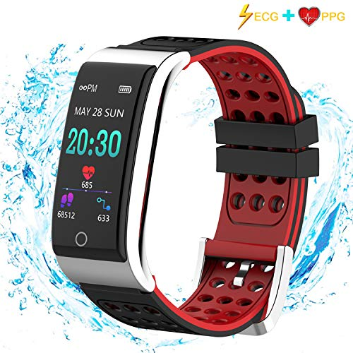 Fitness Tracker, Armo ECG&PPG Heart Rate Monitor Watch Color Screen, IP68 Waterproof, Step Counter, Calorie Counter, Sleep Monitor, Pedometer, Smart Watch Kids Women Men