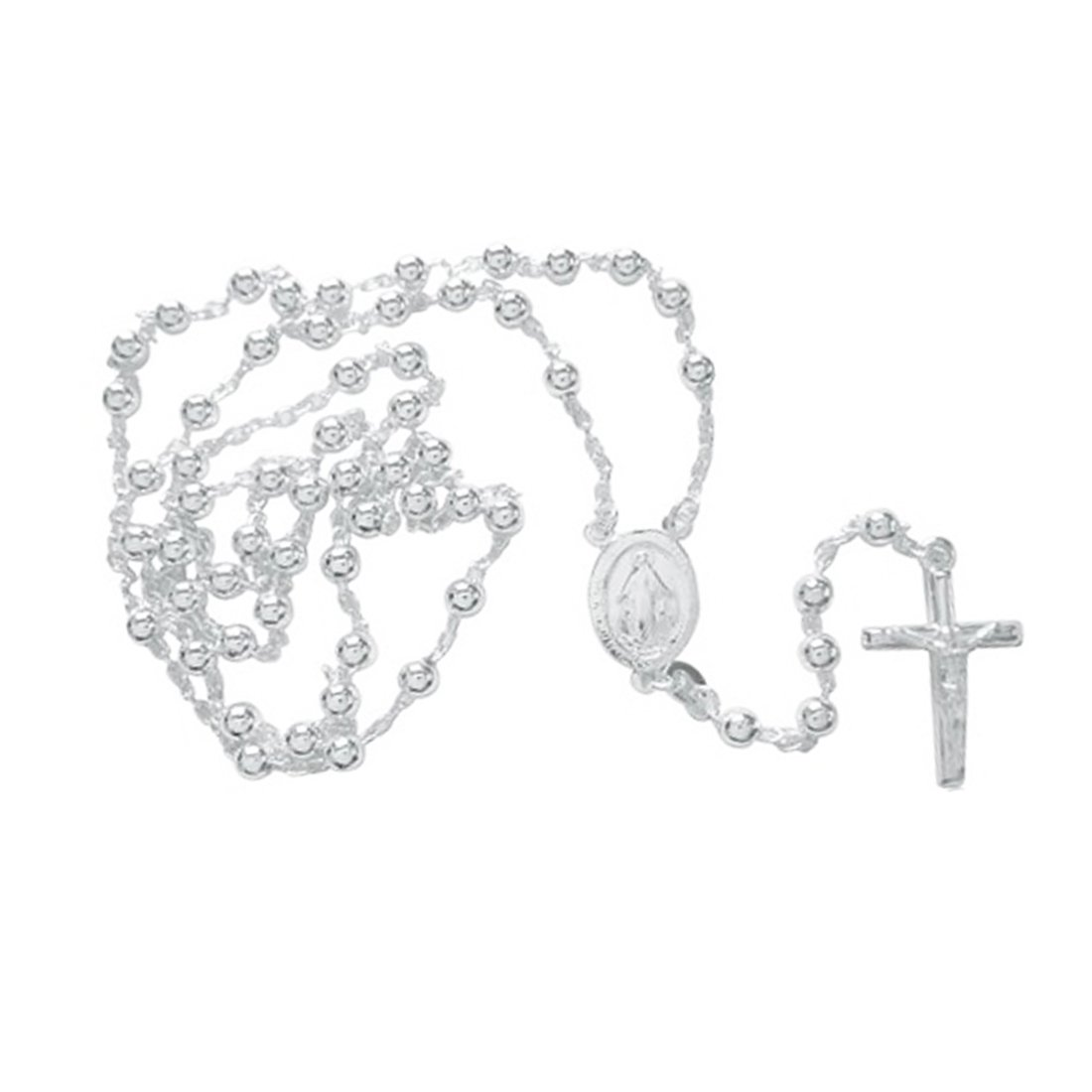 Sterling Silver Catholic Rosary 4mm Beads Virgin Mary Crucifix Cross 24'' Necklace by Ritastephens (Image #4)