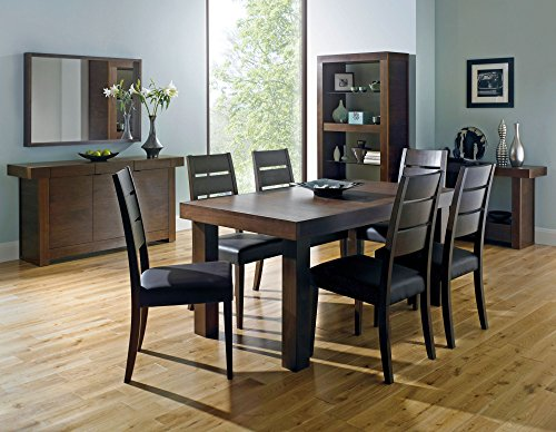 Coastlink Kita Walnut Extension Dining Table Set for 6 - Slat Back Chairs