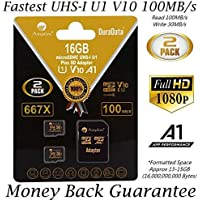 2 Pack 16GB 100MB/s V10 A1 U1 Micro SD SDHC Card Plus...