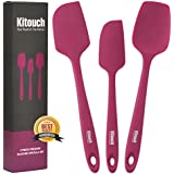 3-Piece Silicone Spatula Set by Kitouch (Pink) - Professional Quality Spatula Set with 3 Heat-Resistant Spatulas - Nonstick and Dishwasher Safe - Bonus eBook with 20 Easy-to-Follow Recipes