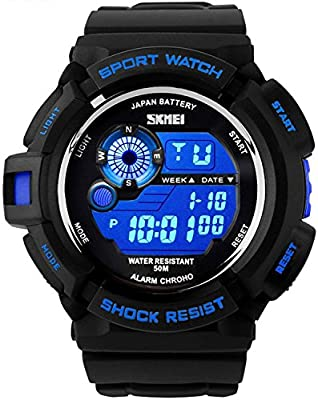 Takyae 2016 Military LED Digital Quartz Watch Water Resistant Sport Watches Multifunctional - Blue