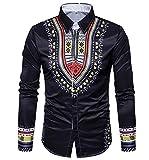 Kankanluck Men Plus Size Africa Printing Casual Long Sleeve Dress Shirts Top Black XL