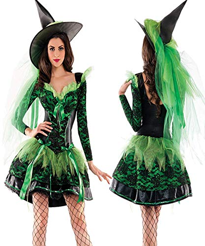 NonEcho Adult Women Fairy Costume Halloween Forest Princess Costume Green Witch Dress