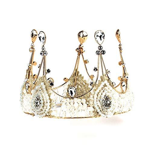 JYEMDV Wedding Accessories Head Jewelry Birthday Cake Decoration Bridal Crown Vintage Handmade Crystal Big Crown