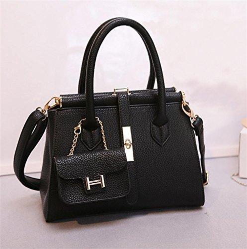 13cm Handbag Pu Black Ladies 30 34 Lock Shoulder Fashion Bag Yanx Madam Tote qBx4p4P