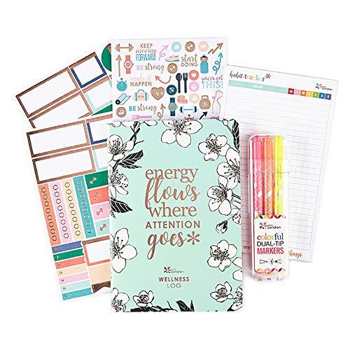 Erin Condren Wellness Bundle - Wellness PetitePlanner, Matching Stickers, Habit Tracker Notepad, Colorful Dual-Tip Markers (3-Pack, Pink, Orange, Yellow)
