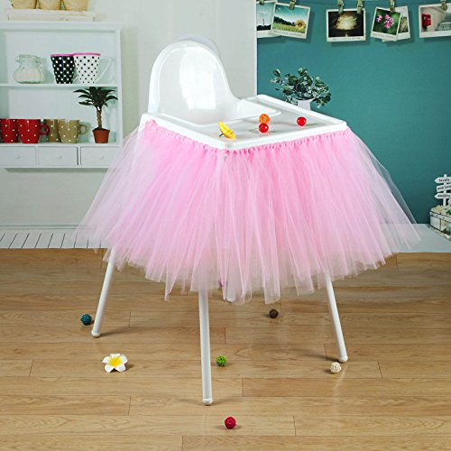 vLoveLife 40'' x 14'' Baby Pink Tulle Tutu Skirt For High Chair Decor For 1st Birthday Party Baby Shower Decorations Favor