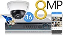 16 CH NVR with 16 4K 8MP Mini Dome Cameras 4K Kit for Business Professional Grade FREE 1TB Hard Drive