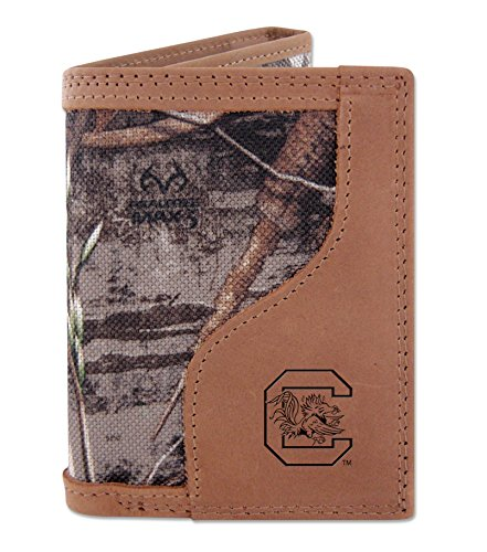 South Carolina Fighting Gamecocks Tri-fold Realtree Max-5 Camo & Leather Wallet USC - Zep-Pro - NCAA (Camouflage Leather Tri Fold)