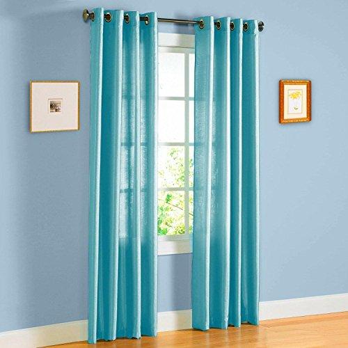 - Qutain Linen Faux Silk Grommet Curtain Window Panel (55