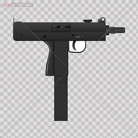Decal sticker uzi gun pistol helmet bike car window wall art decor mobile note book size