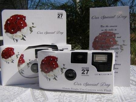 10 Pack Red and White Rose Bouquet Wedding Disposable 35mm Cameras In Matching Gift Boxes- 27 Exposures Each- With Matching Table Tents