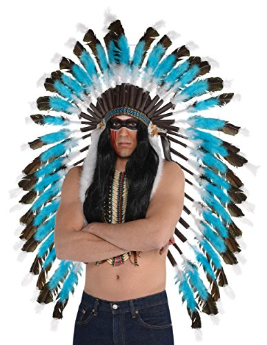 AMSCAN Native American Feather Headdress Deluxe Halloween Costume Accessories, One - Feather Headdress