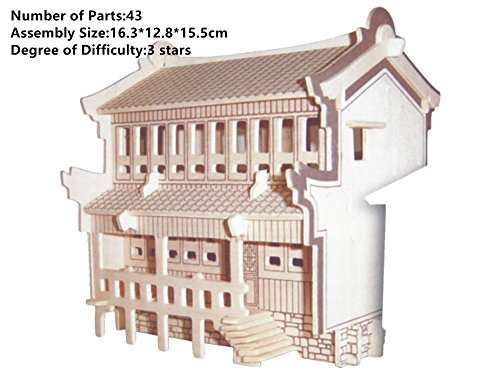 Zieast® New Wood Educational Assembly DIY Toy for 3D Wooden Model Puzzles of Bridge Bank House