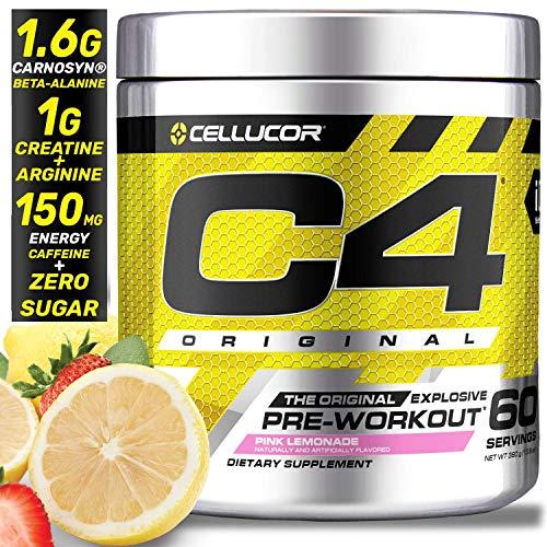 Cellucor C4 Original Pre Workout Powder Energy Drink Supplement For Men & Women with Creatine, Caffeine, Nitric Oxide Booster, Citrulline & Beta Alanine, Pink Lemonade, 60 Servings