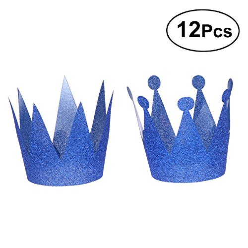 LUOEM 12Pcs Glitter Birthday Crown Hats Party Hats Princess Prince Crowns for Kids and Adults Party Decorations (Royal Blue) ()